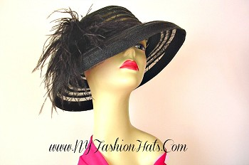 Black Designer Kentucky Derby Special Occasion Hat Ladies Hats TGO42