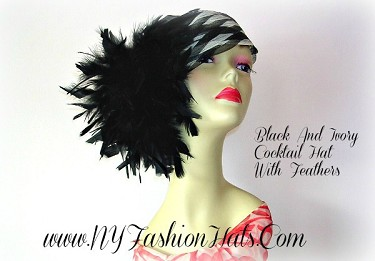 Ivory And Black Pillbox Style Cocktail Hat For Women Formal Hats WY98