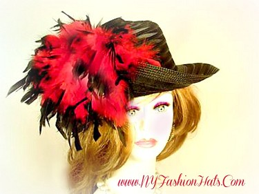 Ladies Designer Dressy Black Ivory White Pink Hat With Feathers Hats