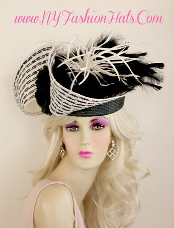 Black And White Shaped Designer Special Occasion Hat For Women 21 Hats