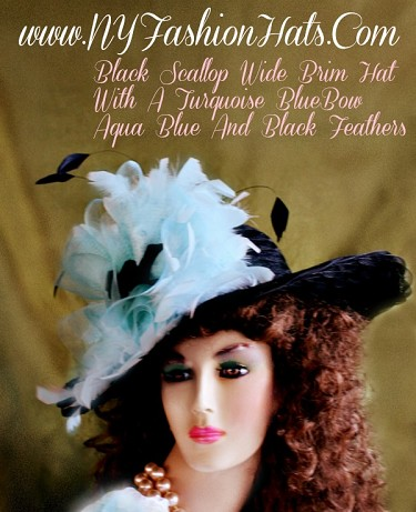 Women's Black Aqua Turquoise Kentucky Derby Hat 40HB NY Fashion Hats