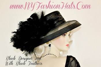 Ladies Black Designer Kentucky Derby Hat With Feathers NY Fashion Hats