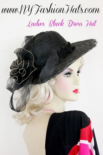 Women's Black Gold Designer Dress Wedding Hat, NY Fashion Hats