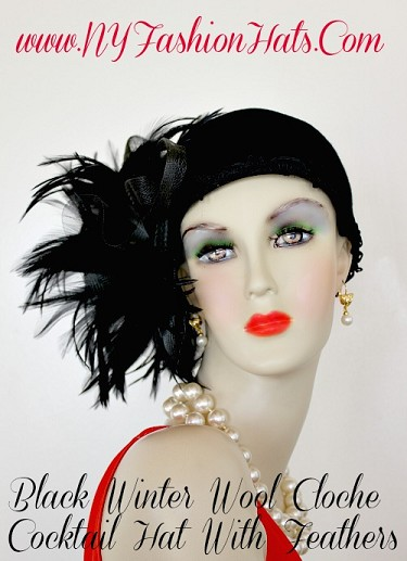 Black Flapper Deco Feather Winter Cloche Feather Hat, NY Fashion Hats