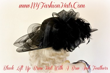 Kentucky Derby Hats Black Designer Hat With Feathers NY Fashion Hats