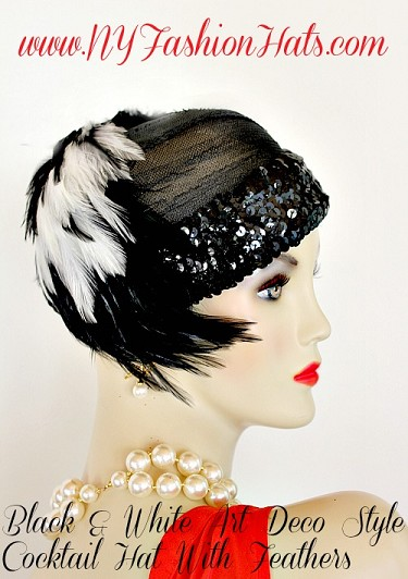 Ladies Black White Flapper Deco Feather Cocktail Hat, NY Fashion Hats