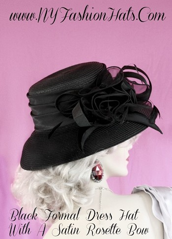 Ladies Black Or Ivory Designer Dress Church Hat Kentucky Derby Hats