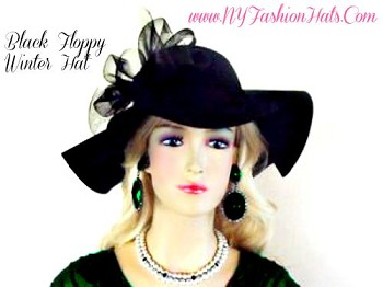 Black Wide Brim Winter Wool Ladies Hat For Special Occasion 4CPW