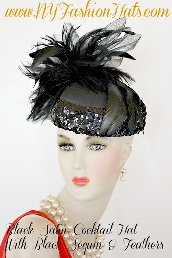Ladies Black Satin Designer Cocktail Dress Hat, NY Fashion Hats