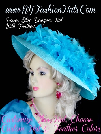 Turquoise Blue Kentucky Derby Hat Wedding Church Hat NY Fashion Hats