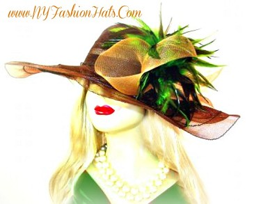 Brown Lime Green Formal Kentucky Derby Hat Ladies Designer Hats 445