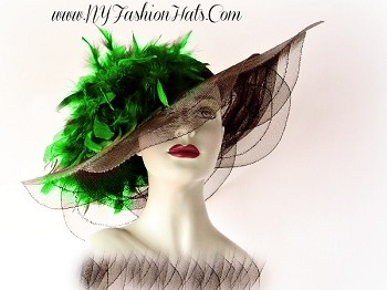 Brown Designer Fashion Dress Hat For Women Custom Feather Choice