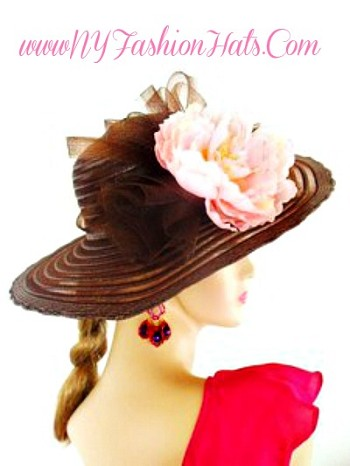 Brown Pink Wide Brim Spring Church Hat  Women's Fashion Hats 4RBL