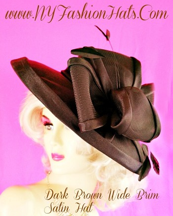 Lady's Brown Formal Satin Designer Dress Hat For Women NY Fashion Hats