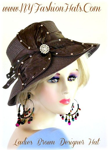 Brown Dressy Hat With A Satin Bow And Rhinestones Church Hats 4CYQ