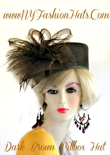 Ladies Brown Black Ivory White Pillbox Hat With Feathers Fashion Hats