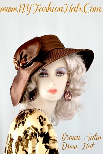 Ladies Chocolate Brown Designer Satin Wedding Church Hat Fashion Hats