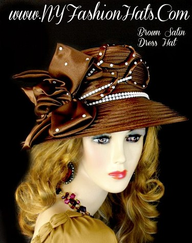 Women's Brown Designer Satin Wedding Church Hat Fashion Formal Hats