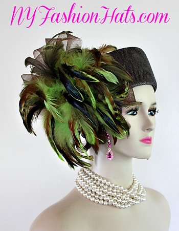 Women's Designer Brown Lime Green Pillbox Hat Feathers, Formal Hats