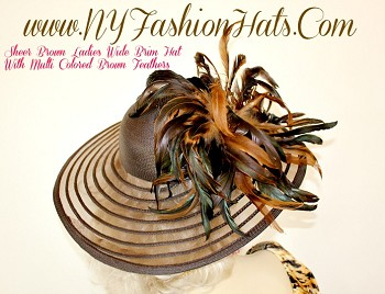 Brown Kentucky Derby Hat With Feathers, Dress Hats, NY Fashion Hats