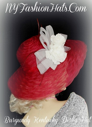 Burgundy White Designer Kentucky Derby Racing Hat NY Fashion Hats