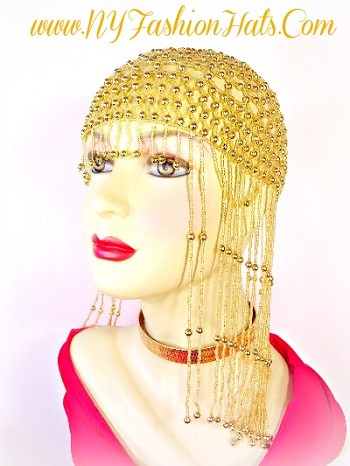 Gold Silver Or Black Beaded Cocktail Women's Dress Hats 2BRQ