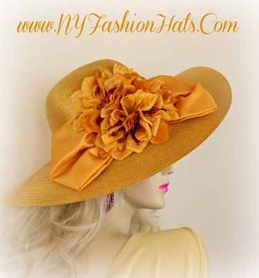 Ladies Gold Designer Wedding Hat With A Bow And Flowers NYFashionHats