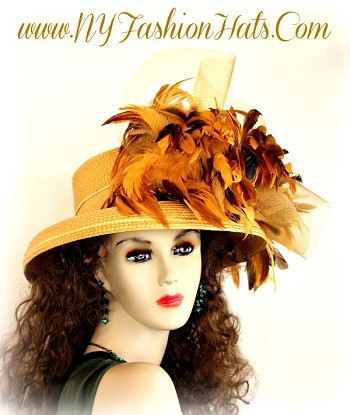 Women's Gold Designer Hat With Brown Mustard Yellow Feathers Tea Hats