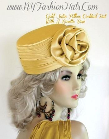 Ladies Antique Gold Satin Pillbox Dress Hat Women's Cocktail Hats YR5