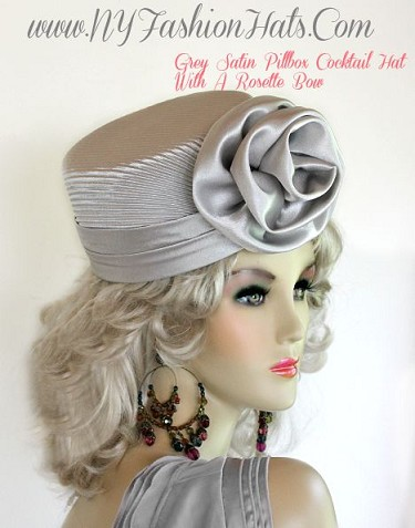 Ladies Silver Gray Satin Pillbox Dress Hat Women's Cocktail Hats P72