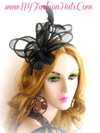 Black Straw Feather Fascinator Satin Hairband Headband Cocktail Hat 9BNQ