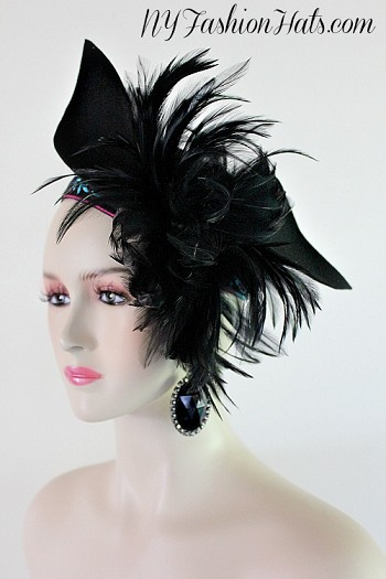 Art Deco Black Winter Wool Cocktail Hat Headpiece NY Fashion Hats