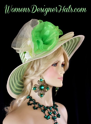 Lime Green Ivory Designer Kentucky Derby Hat Woman's Fashion Hats NY