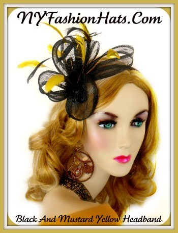 Ladies Black Yellow Straw Satin Hairband Hat Cocktail Hats Fascinators 3KZR