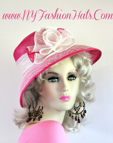Hot Pink Ivory Sinamay Lavender Purple Peach Lime Pink Straw Hat 9RVB