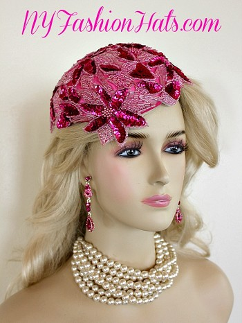 Women's Designer Hot Pink Satin Glass Bead Sequin Pearl Cocktail Hat Bridal Wedding Headpiece