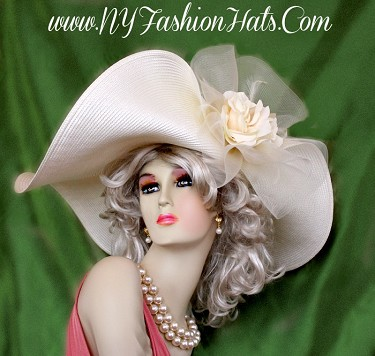 Ladies Ivory Designer Fashion Hat With Roses Women's Dress Hats UB7