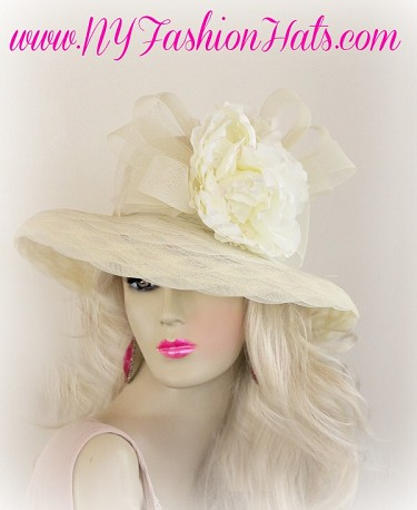 Ivory Pink Special Occasion Ladies Spring Hat With Flowers Hats WNUT