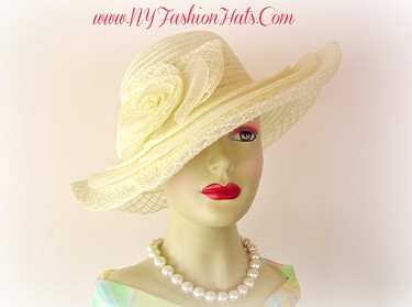 Women's Ivory White Pink Wide Brim Church Dress Hat Designer Hats VC4