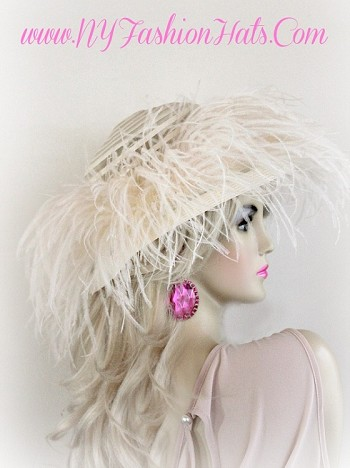 Ivory Wedding Bridal Hat With Feathers Ladies Custom Church Hats VN02