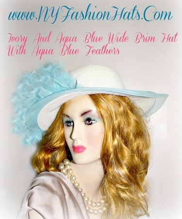 Women'a Aqua Ivory Special Occasion Kentucky Derby Hat NY Fashion Hats