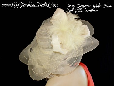 Ladies Ivory Wide Brim Designer Hat With Feathers NY Fashion Hats