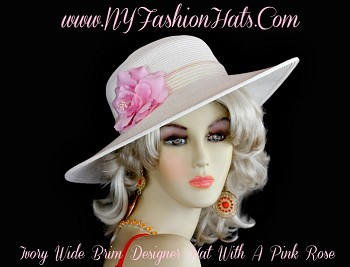 Ladies Ivory Casual Or Dress Cruise Wear Designer Hat, NY Fashion Hats