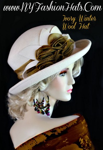 Ladies Ivory Metallic Antique Bronze Hat Winter Wool Designer Hats