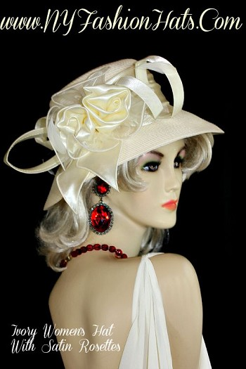 Ladies Ivory Or Black Designer Hat With A Satin Bow Wedding Dress Hats