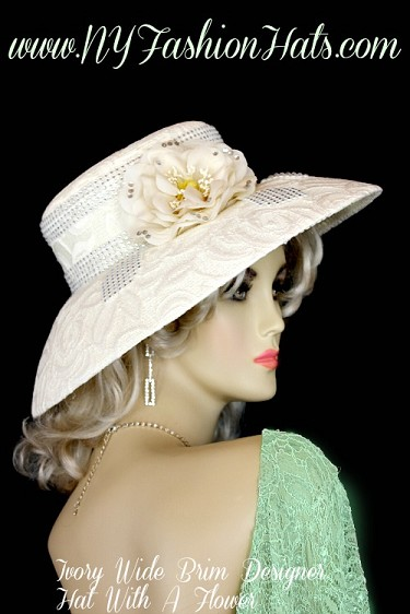 Ladies Ivory Designer Kentucky Derby Church Hat NY Fashion Hats XL0