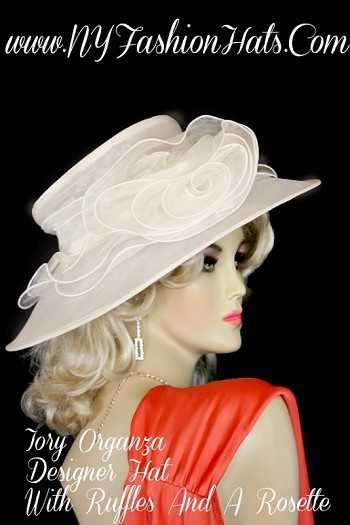 Ladies Organza Ivory Designer Fashion Hat With A Rose Wedding Hats