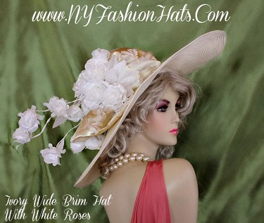 Ivory Designer Wide Brim Hat With A Gold Bow White Roses Dress Hats