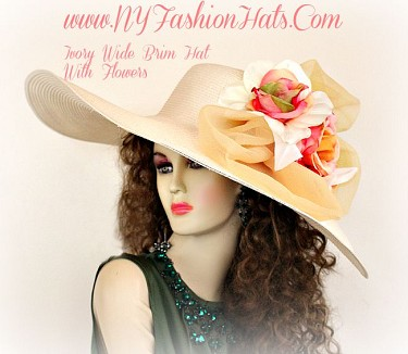 Ivory Coral Rose Peach Celery Wide Brim Designer Hat Ladies Hats 2ZQ