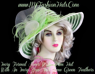 Women's Lime Green Ivory Designer Hat For A Wedding, NY Fashion Hats